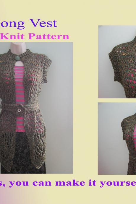 Knit Pattern - Long Vest (17VC2013)