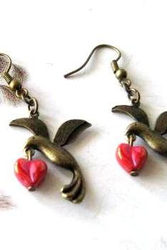 Bronzed bird earrings jewelry with red heart