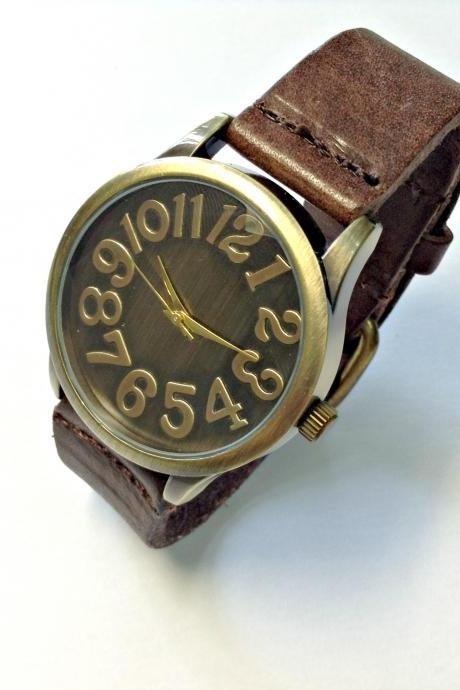 Handmade Vintage Classical Big Arabic Numerals Face Leather Band Men Women Girl Quartz WristWatch Dark Brown