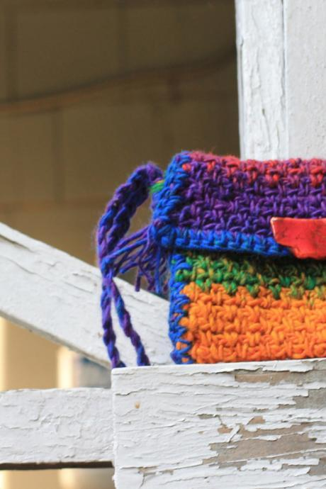 Wristlet, Boho rainbow color wristlet, crochet, Stone Clasp, tassel, wallet, cell phone case, credit card case