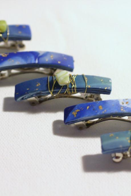Womens Hair Clips, Lapis Blue Sea Glass Barrettes, Mini Barrettes, Festival Style, Sea Glass, Gold Embossed, Boho Barrettes