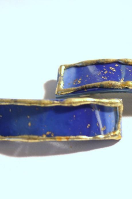 Womens Hair Clips, Sky Blue Barrettes, Mini Barrettes, Gold Embossed, Boho Barrettes, Midnight Sky Blu