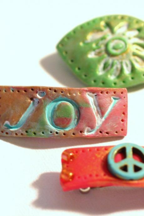 Hair Accessories, Hippy Style Bitsy Barrettes, 3 Polymer Clay Barrettes, Sun-Kissed, Peace Sign, Boho Barrettes