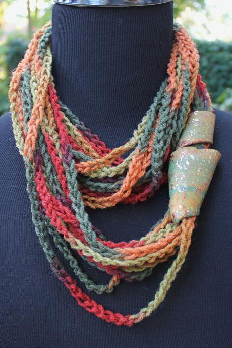 "Mustard Seeds - Twisted Scarf, Marbled Clay Gold Embossed Clasp, 54"", 24"" or 18"" Neck Wrap"