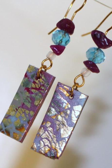 Purple Marble, Gold Embossed, Aquamarine and Amethyst Crystal Earring, Brass Wire Wrap