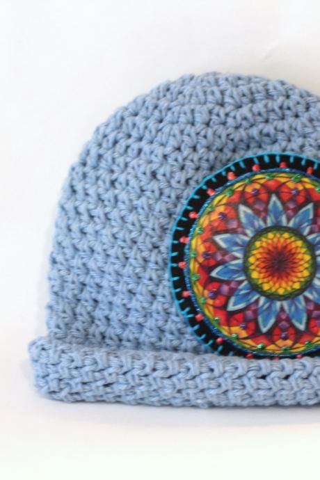 Light Blue, Mandala Baby Beanie, Boho, Hipster Baby Cotton Hat, Brimmed Sun Hat