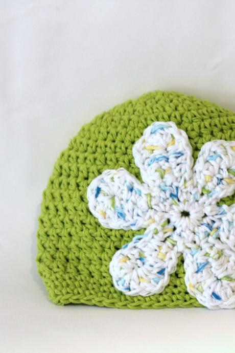 Girls Beanie, Baby Beanie, Girls Hat, Flower Power Baby Beanie, 100% Cotton Hand Crochet Indie Made Lime Green, White Hippie Chick Cloche