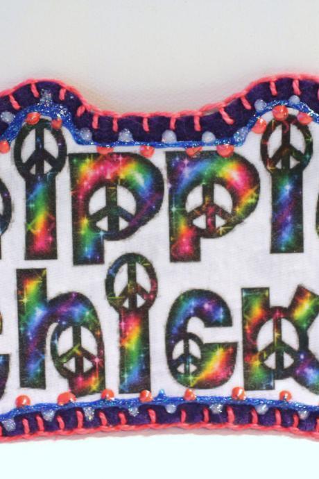 Hippie Boho Peace Sign Patch, Personalized Hand Embroidered, Painted Decorative Accessory for Jeans, t shirts, bags
