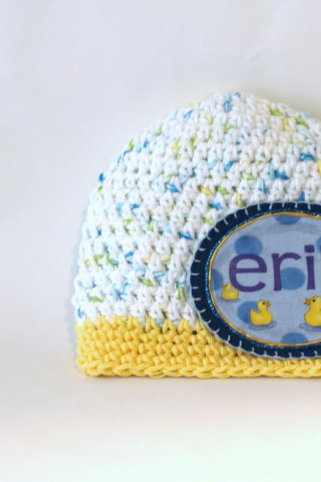 Boys Personalized Baby Beanie, Cotton Hand Crochet with Baby Duck Name Patch