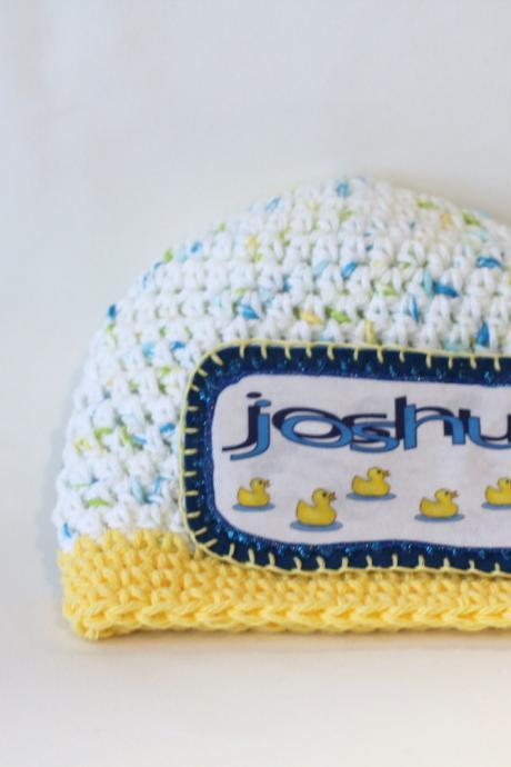 Personalized Baby Beanie, 100% Cotton Hand Crochet with Baby Ducks Name Patch