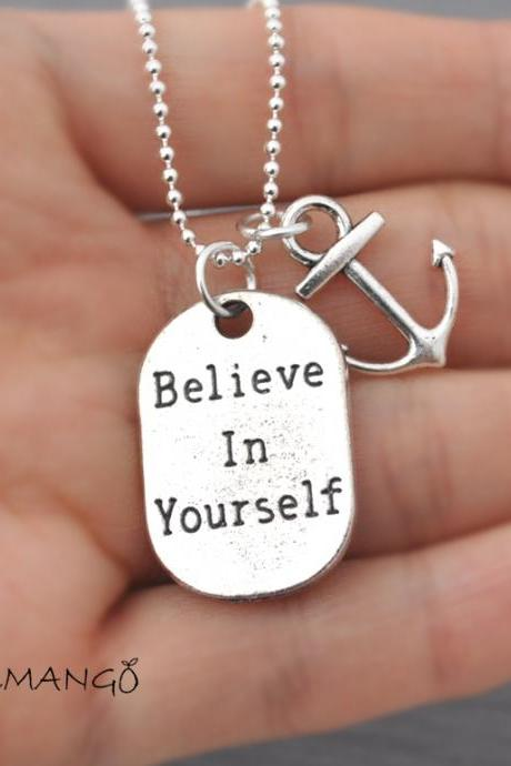 Believe in Yourself, Long Necklace, Modern, Minimalist, self esteem, dog tag jewelry, Nautical jewelry, ball chain, motivation, anchor, long