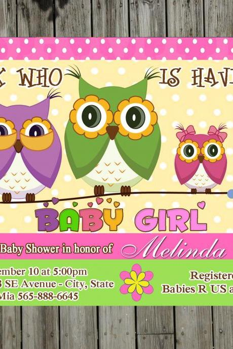 Sweet Owl Baby shower party invitations for boy or girl (unlimited prints)