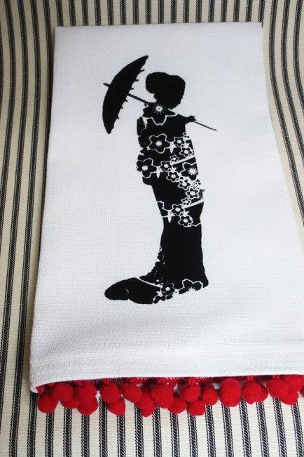 White kitchen towel or tea towel with Japanese Geisha screen print