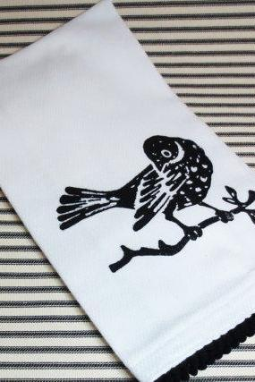 White kitchen towel or tea towel with bird on branch screen print