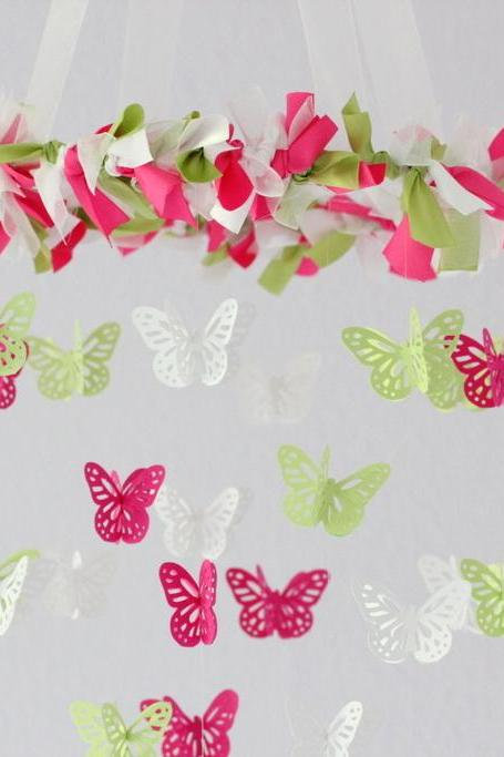 SMALL Butterfly Mobile in Hot Pink, Green, & White