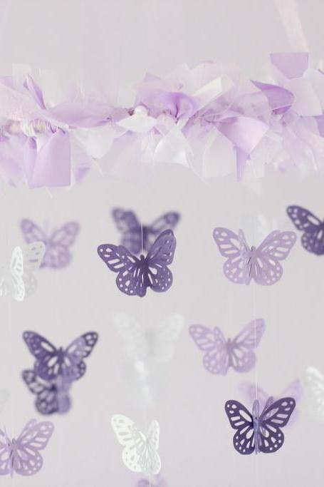 SMALL Butterfly Mobile in Lavender, Purple & White