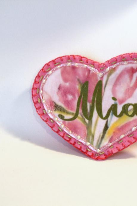 Pink Shabby Chic Girly Heart Patch, Personalized Hand Embroidered, Painted Decorative Accessory for Jeans, t shirts, bags