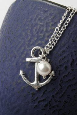 Silver anchor necklace, anchor jewelry, anchor and swarovski pearl necklace, bridesmaid necklace, nautical, beach wedding, made in Canada