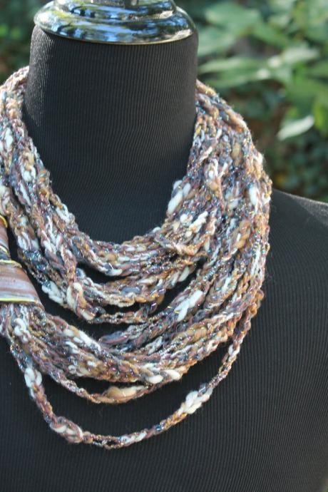 Womens Scarf, Womens Infinity Scarf, Neck Wrap, Mixed Fiber Neck Wrap/Twist with Jewelry Accent Closure, Can be worn 3 ways