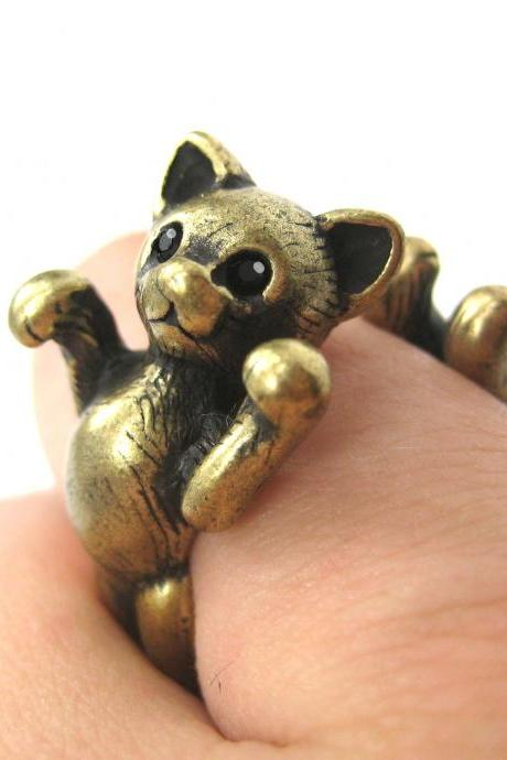 3D Two Tailed Kitty Cat Animal Ring in Brass Sizes 5 to 9 Available
