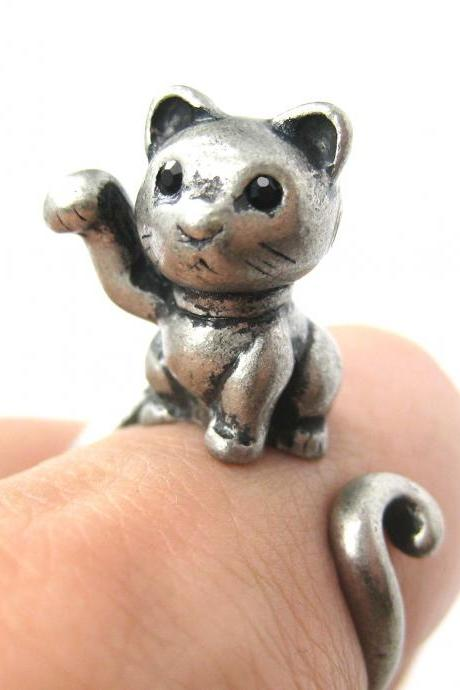 Realistic Fortune Kitty Cat Animal Wrap Ring in Silver - Sizes 4 to 9 Available
