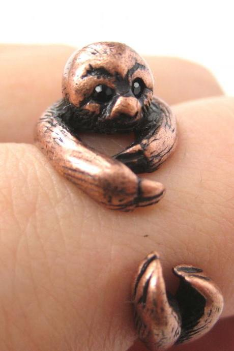 Realistic Sloth Animal Wrap Around Hug Ring in Copper - Sizes 5 to 10 Available