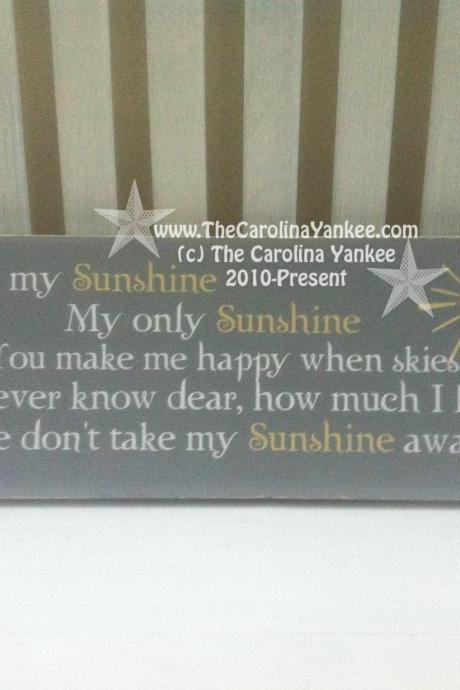 You Are My Sunshine Wood Board - Home Decor, Wall Hanging, Primitive, Distressed