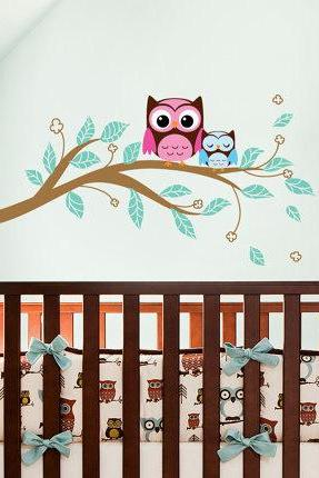 mom and baby cute Owls on tree branch owl bird birds Art Decals Wall Sticker Vinyl Decal stickers living room bed baby room