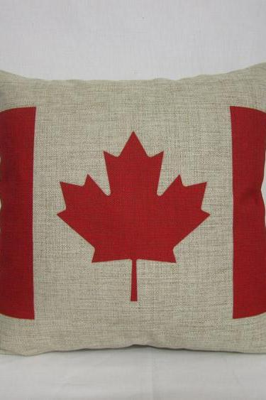 1 ON SALE Linen cotton Vintage retro Canada flag red maple leaf design throw pillow cushion cover/home decor/housewares 18""