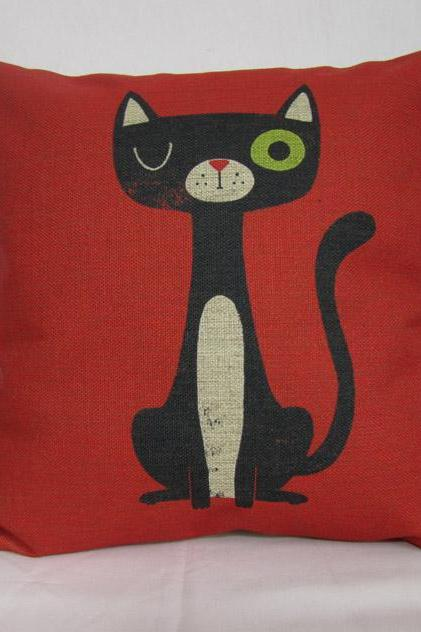 1 Red Linen Pillow Cover Decorative Throw Pillow Cushion Cover Cat Pillow Cartoon Pillowcase Housewares Home Decor 18 inches