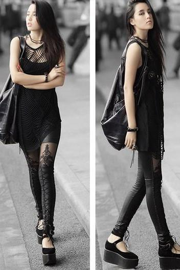 Faux Leather Retro Gothic Punk Lace Legging