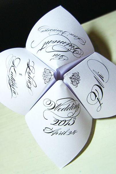 Wedding Cootie Catcher Party Favor - PERSONALIZED