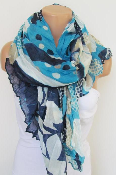 Navy Blue and Cream Floral Polka-dot Pattern Scarf Spring Summer Scarf Infinity Scarf Women's Fashion Accessories Trend Holidays Easter Gift Ideas For Her