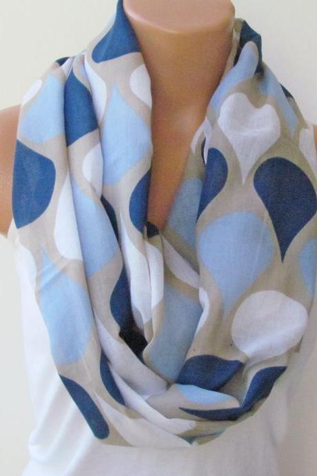 Infinity Scarf Circle Scarf Loop Scarf Tube Scarf White Blue Navy Blue