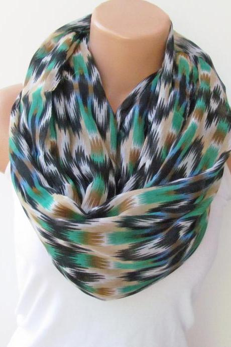 Infinity Scarf Circle Scarf Loop Scarf Tube Scarf Indian Pattern Blue Green and Black
