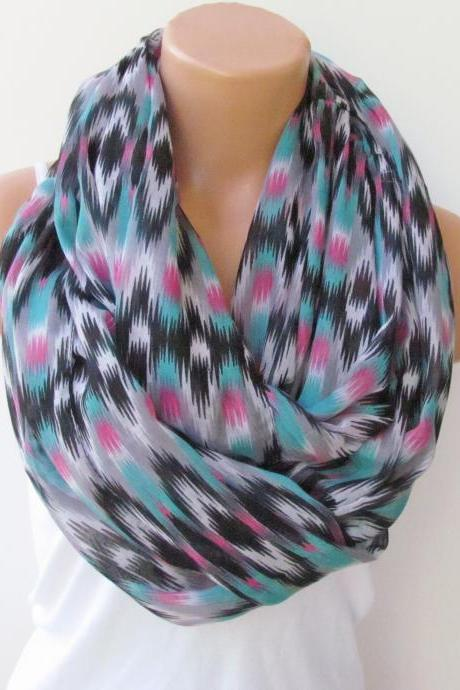 Infinity Scarf Circle Scarf Loop Scarf Tube Scarf Indian Pattern Turquoise Pink and Black