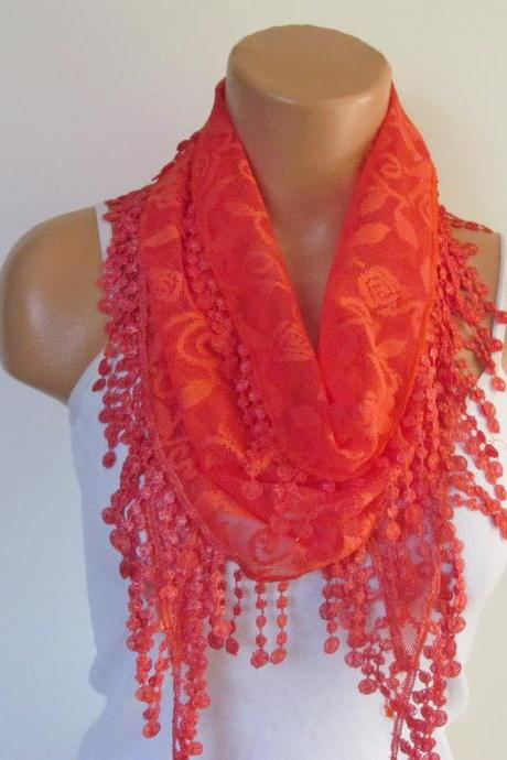 Red Lace Scarf With Fringe New Season Scarf-Headband-Necklace- Infinity Scarf- Accessory-Long Scarf-Fall Fashion