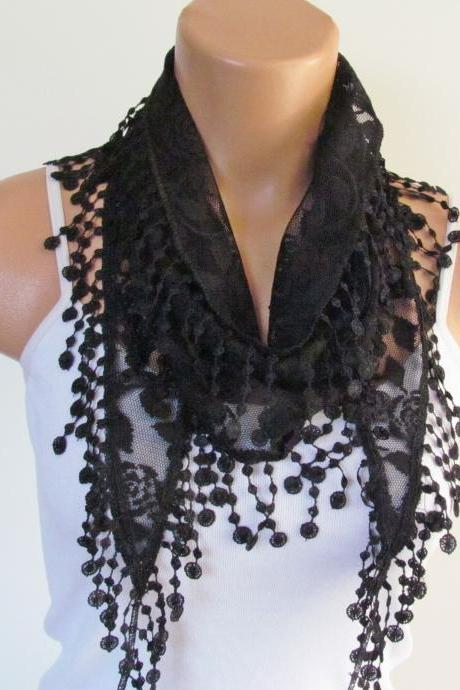 Black Lace Scarf With Fringe New Season Scarf-Headband-Necklace- Infinity Scarf- Accessory-Long Scarf-Fall Fashion