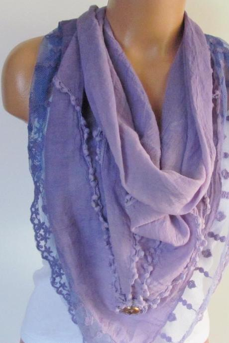 Lilac Triangle Scarf With Lace-Shawl Scarf-Cotton Scarf-New Season -Fall Fashion-Pashmina Scarf- Neckwarmer- Infinity Scarf