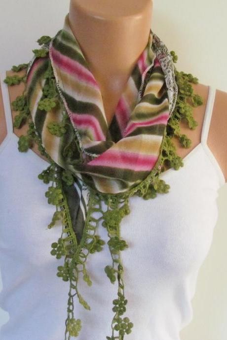 Multicolor Long Scarf With Fringe-New Season Scarf-Headband-Necklace- Infinity Scarf- Spring Accessory-New Season-Gift-Green Scarf