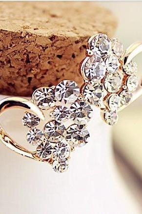 Elegant Cute Heart Shape Rhinestone Earrings [grxjy530082]