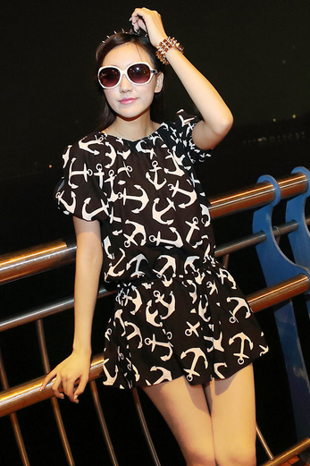 Navy anchor prints elastic waist dress