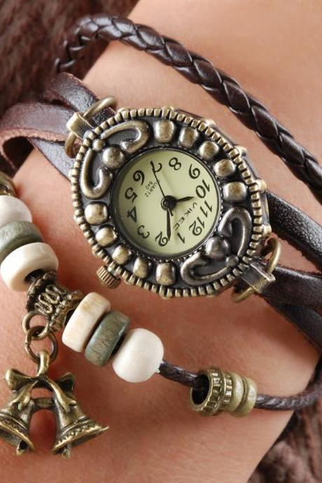 Handmade Vintage Quartz Weave Around Leather Bracelet Lady Woman Girl Wrist Watch With Bell Charm Dark Brown