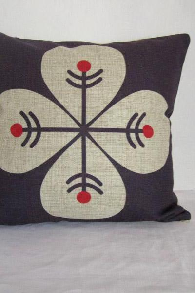 Decorative Linen Pillow Cushion Cover Four Leaves Purple Cover Housewares Gift 18'