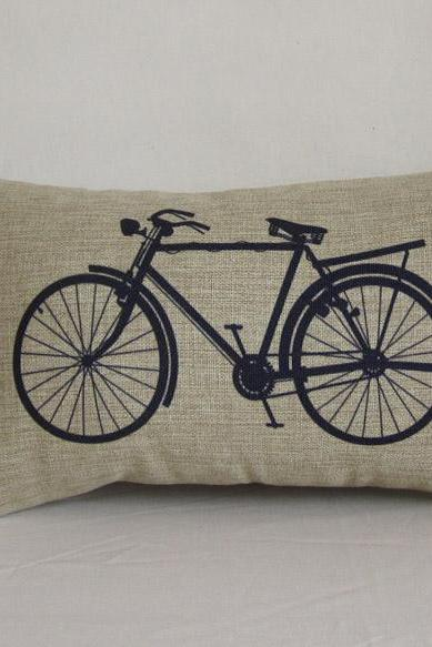 1 Piece of Bike Pillowcase cotton linen pillow cover Blue Bicycle Decorative Pillow cushion cover home decor 30x50cm