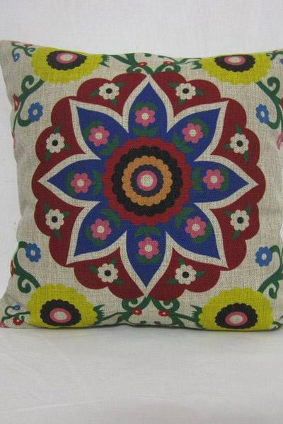 Decorative Linen Pillow Cushion Cover Floral Colorful Pillowcase Gift Home Decor Housewares 18'