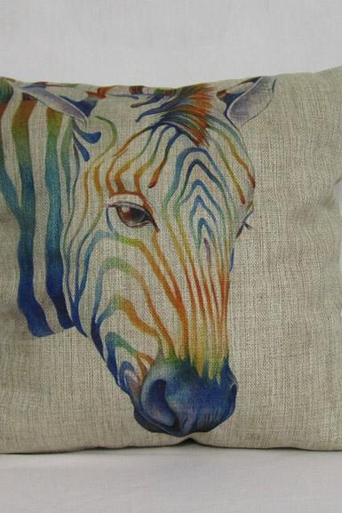 1 Piece of Colorful Horse Animal Pillow Cushion Cover Decorative Linen Pillowcase 18'