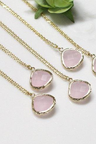 Bridesmaid gifts - Set of 7 - Pink drop pendant necklace