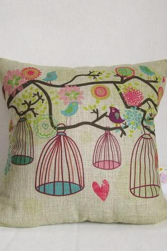 Linen cotton decorative birdcage throw pillow cushion covers/home decor/housewares 18'
