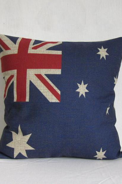 ON SALE Linen cotton Vintage retro Australia flag design throw pillow cushion cover/home decor/housewares 18'